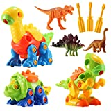 Dinosaur Toys for Kids Boys Girls - 3 Buildable Dinosaur and 3 Realistic