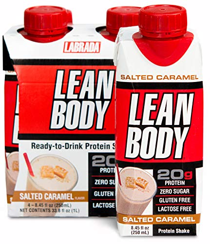 Labrada – Lean Body Ready to Drink Protein Shake, Convenient On-The-go Meal Replacement Shake for Men & Women, 20g of Protein – Zero Sugar, Lactose & Gluten Free, Salted Caramel (Pack of 4)
