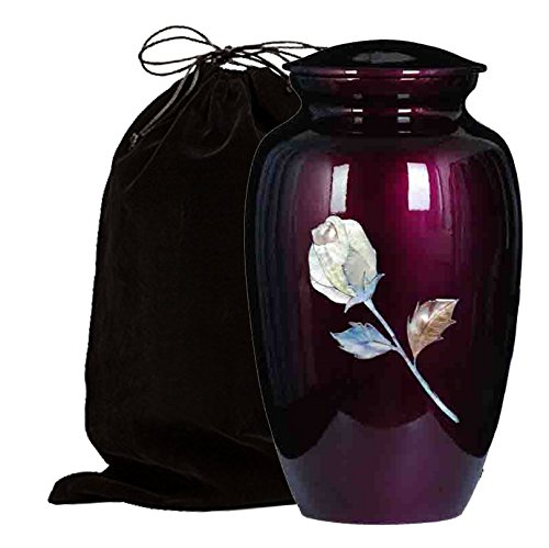 Mother of Pearl Inlaid Metal Cremation Urn - MOP Cremation Urn - Solid Metal Funeral Urn - Handcrafted Adult Funeral Urn for Ashes - Great Urn Deal with Free Bag (Burgundy Rose) -