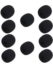 Moniss Mini fone de ouvido de lapela, microfone, pára-brisa, capa de espuma de microfone, pacote de 10 cores preto