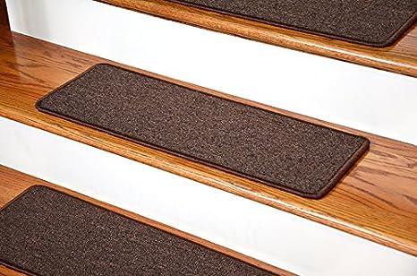 Dean DIY Peel And Stick Serged Non Skid Carpet Stair Treads   Dark Brown (