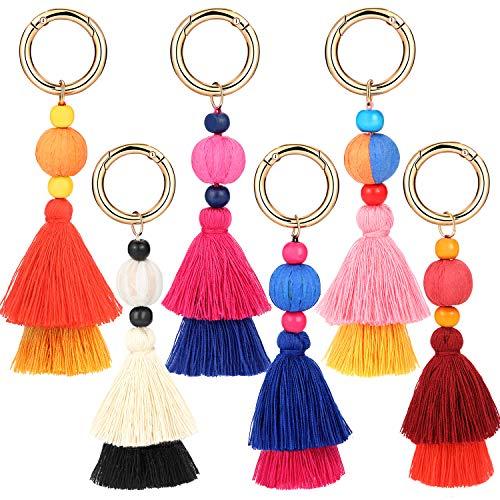 Tatuo 6 Pieces Handmade Bohemian Tassel Keychain Tassels Bag Key Chain Charm Handbags Pendant Key Chain Rings (Color Set 2)