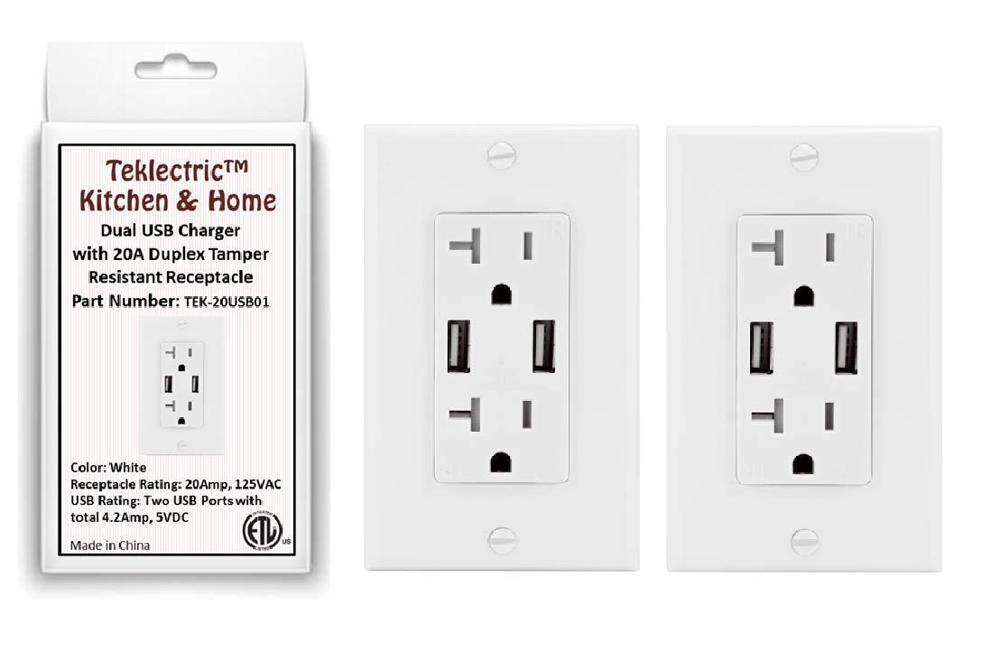Teklectric 4.2A High Speed Dual USB Receptacle 20A Tamper Resistant Receptacle Outlet & Free Wall Plate, White - 3 Pack USB Outlet