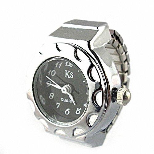 YouYouPifa Fashion Alloy Quartz Finger Ring Watch (Silver)