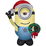 Illumination Airblown Inflatable Despicable Me Minion Stuart with Holiday Christmas Wreath 9.5 feet