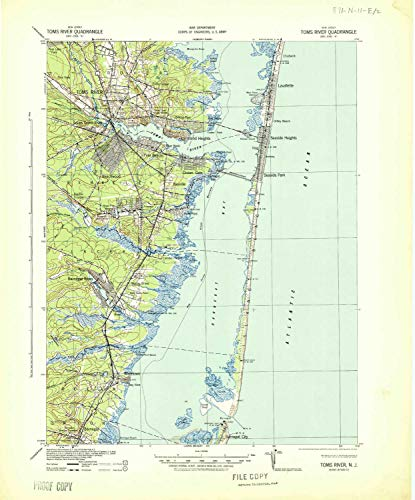 YellowMaps Toms River NJ topo map, 1:62500 Scale, 15 X 15 Minute, Historical, 1941, 21.7 x 18 in - Paper