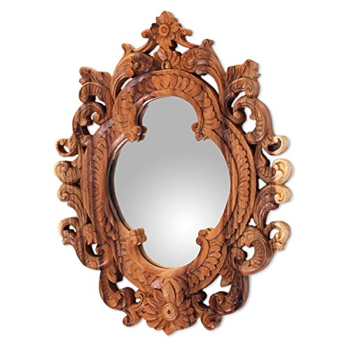 NOVICA Natural Suar Wood East Meets West Hand Carved Wall Mirror From Indonesia 'Mataram Rococo' Carved Bali Wood Art