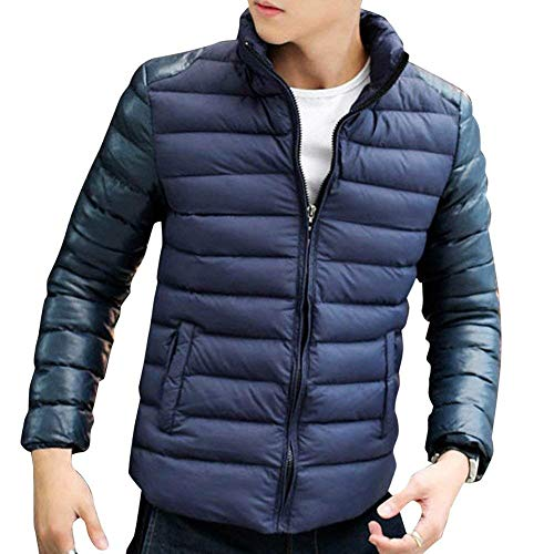 Targogo Men's Lightweight Down Jacket Stand Cotton Outdoor Coat Collar Blended Slim Leisure Comfortable Transition Quilted Outerwear Navy