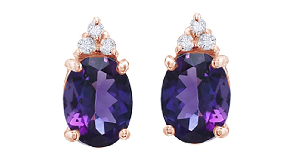 Simulated Amethyst & White Natural Diamond Top Stud Earrings in 10K Solid Gold