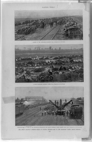Photo: Great railway strikes,miles, burned freight-cars,railroad yards,Chicago,IL,1894