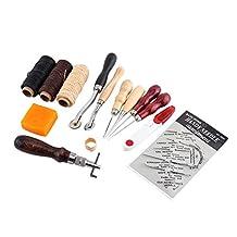 Kit de artesanía de cuero de 14 piezas, con herramientas de trabajo de cuero, kit de bricolaje Kit de costura profesional, con cuerda de cera plana y dedal de punzón, etc.