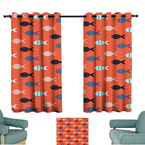 HCCJLCKS Fashion Curtain Coral Fishes Motif Nautical Marine Sea Underwater Creature Animal Aquarium Ornate Forms Noise Reducing W55 xL72 Multicolor