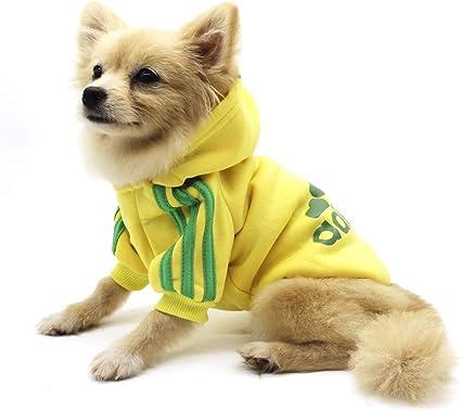Cute Dog Puppy Pet Clothes Apparel Coat COTTON Jacket Hoodie YELLOW sz XS XXL