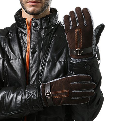 WITERY Men's Winter Leather Gloves - Thick Warm Fleece Windproof Gloves Cold Proof Thermal Mittens - Ideal for Dress, Driving, Cycling, Motorcycle, Camping etc