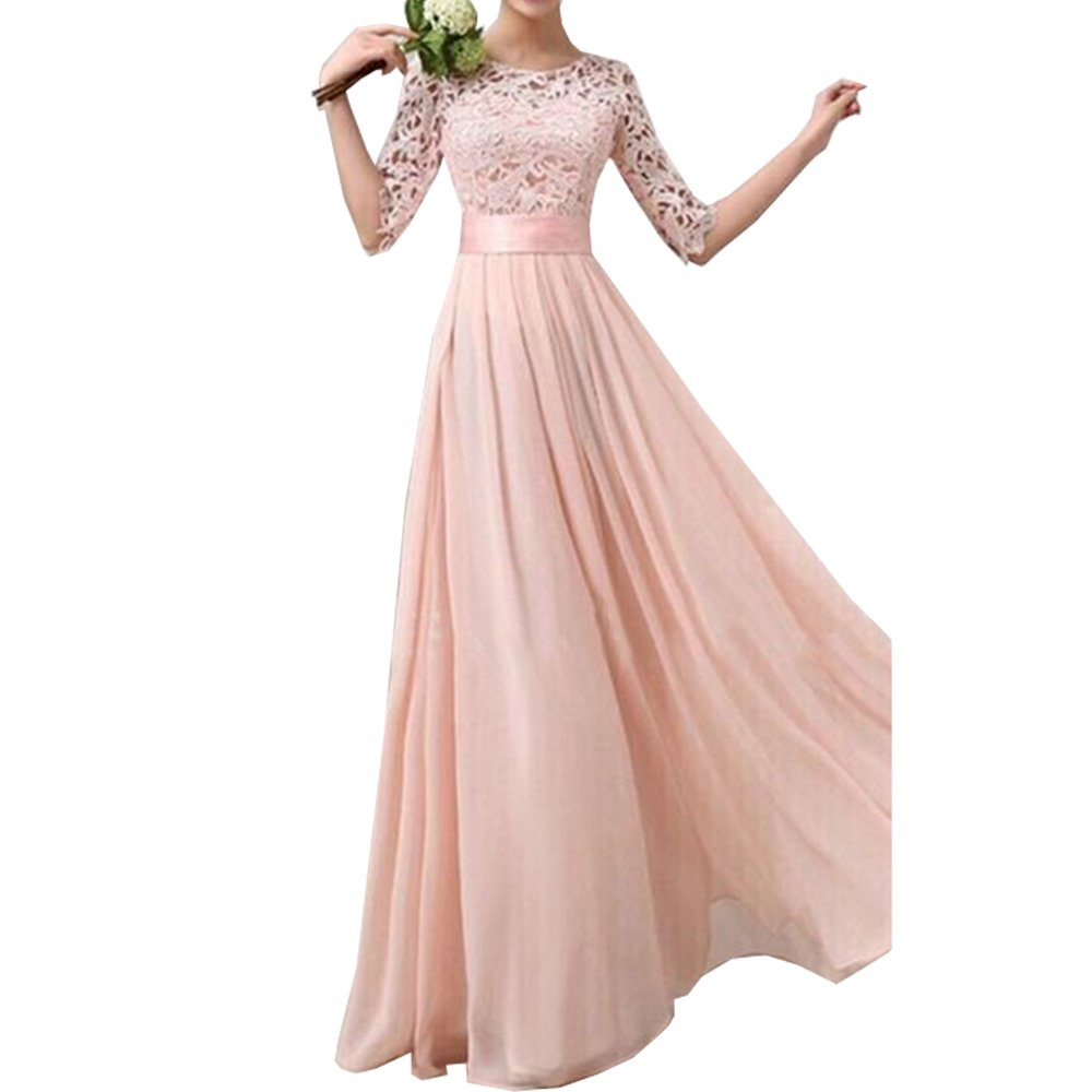 Eiffel Women\'s Lace Chiffon A-line Long Maxi Dress Evening Wedding ...