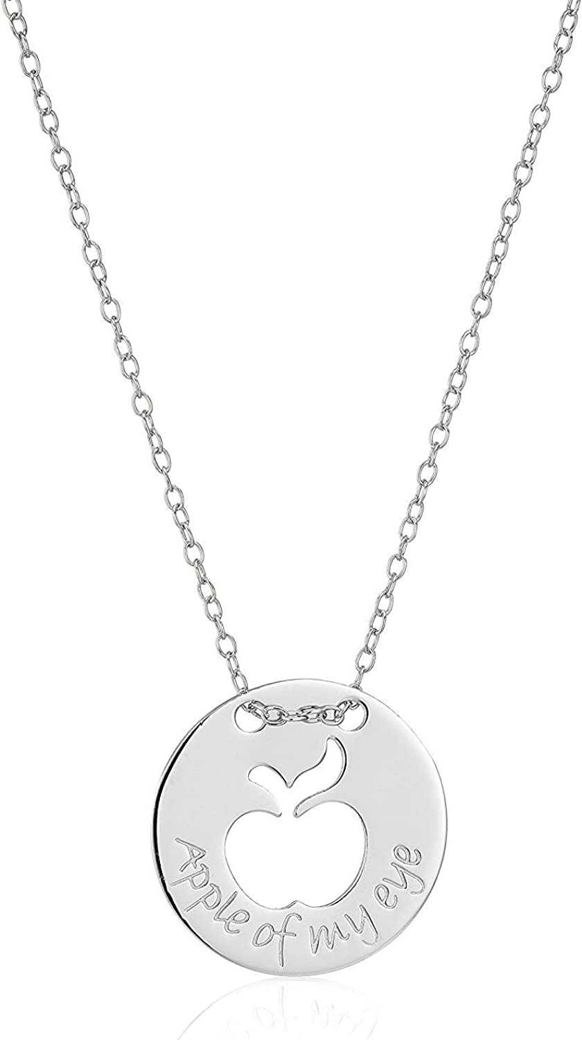 Plated 925 Sterling Silver Cutout Disc Necklace With 16.5