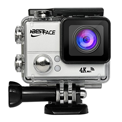 BestFace Sports Action Camera 4K Ultra HD WiFi HDMI 2.0'' LCD Screen Waterproof DV for Outdoor Sporting Silver by BESTFACE