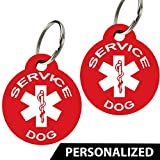 CNATTAGS Service Dog ID Tags - Personalized Front and Back Premium Aluminum (Set of 2) (Regular, Round)