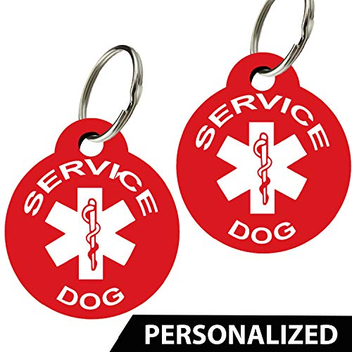 - CNATTAGS Service Dog ID Tags - Personalized Front and Back Premium Aluminum (Set of 2) (Regular, Round)