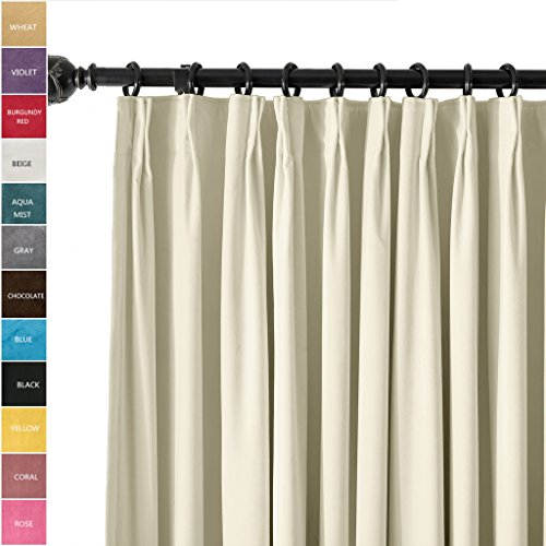 ChadMade Pinch Pleat 100W x 84L Blackout Lined Velvet Curtain Drapery Panel For Traverse Rod or Track, Living room Bedroom Meetingroom Club Theater Patio Door (1 Panel), Beige (Pleat Panel Patio Pinch)