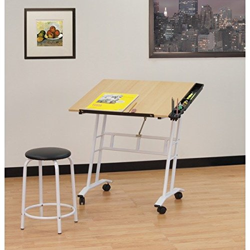 Studio Designs Studio Rolling Drafting and Hobby Craft Center Table with Stool by Product Studio Designs