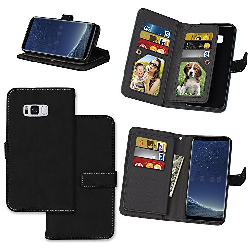 IVY Wallet Galaxy S8 Case with Kickstand Feature and Matte Texture Design For Samsung Galaxy S 8 SM-G950 PU Leathet Flip Cover [9 Card Slot Holder][2 Photo Album] Magnetic Closure - Black