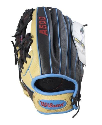 "Blonde Baseball - Wilson A500 Baseball Glove, Blonde/Black/Tropical Blue, 11.5"" Left Hand Throw"