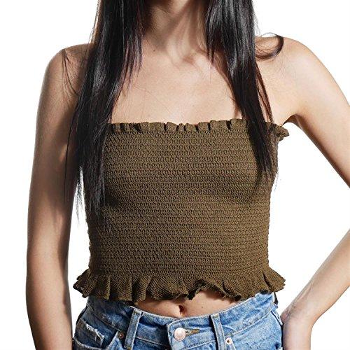 JUANA LA LOCA AND THE VICTORIANS - Mujer top Strapless crop moda Bralette sin mangas palabra de honor punto largo KAKHI