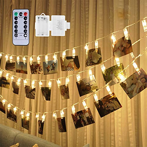 Weepong 40 LED Photo Clips String Lights Holder, Picture Hanging Lights with Remote and Timer 16.4 ft Battery Powered…