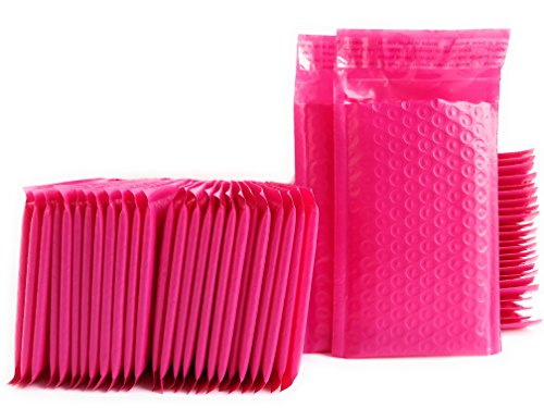 Kelkaa #000 Pink Poly Bubble Mailers Bulk Self Seal Padded Envelopes 4' x 8' Shipping Bubble Mailer Bags (Pack of 50)