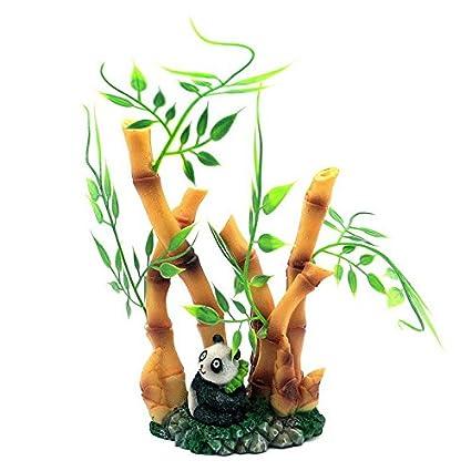 Decoracion para acuario diseño hojas de bambu con oso panda exotico para tu pecera, acuario
