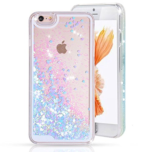 Price comparison product image Urberry Iphone 5/5S/SE Case,Running Glitter Cover, Sparkle Love Heart, Creative Design Flowing Liquid Floating Luxury Bling Glitter Sparkle Hard Case for iPhone 5/5s/SE with a Screen Protector