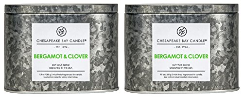 Chesapeake Bay Candle Heritage Collection Double Wick Tin Scented Candle, Bergamont & Clover 2-Count -