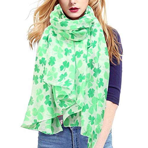 Volcanics St Patrick's Day Shamrock Scarf Irish Clover Scarf for Women Girls
