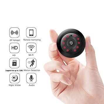 SFXYJ Cámara espía de Mini cámara IP inalámbrica, WiFi HD 1080P USB Cámaras de Seguridad portátil con detección de Movimiento y Alerta, Sonido y Video, ...