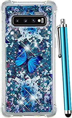 Amazon Com Caiyunl For Galaxy S10 Case Luxury Glitter Bling Liquid Sparkle Quicksand Floating Flowing Women Girls Men Clear Tpu Silicone Protective Cute Phone Cases Cover For Samsung Galaxy S10 Blue Butterfly