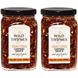 THAI CHILI ROASTED GARLIC DIPPING SAUCE by Wild Thymes Farm, 13oz (Pack of 2)