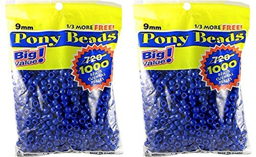 DARICE 06121-2-03-2PK 06121-2-03 1000 Count Pony Beads, 9mm, Opaque Blue (2 Pack), Natural