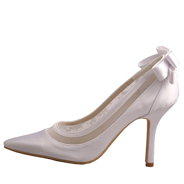 Wedopus MW436 Women's Satin Pointed Toe Stiletto Heel Bowtie Wedding Shoes  For Bride: Amazon.co.uk: Shoes & Bags