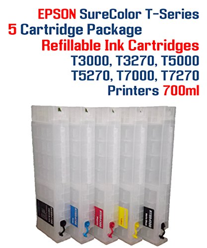 Epson SureColor T3000, T3270, T5000, T5270, T7000, T7270 printer 5 multi-color refillable ink cartridges 700ml each -  Try The Ink, RT694-5