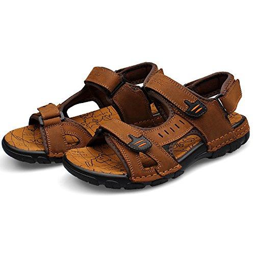 HGDR Mens Summer Sports Sandals Leather Open Toe Outdoor Sandals Trekking Shoes Brown JP6ji6BjQ