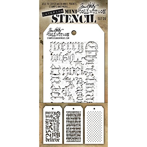 Stampers Anonymous MTS020 Tim Holtz Mini Layered Stencil 3/Pkg-Set #20 by Stampers Anonymous