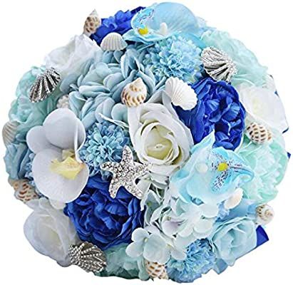 Wedding Bridal Bouquet Home Beach Seashell Wedding Bouquet Silk