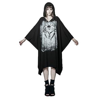fb81d936117f PUNK Women Rock Long T Shirt Dresses Bat Sleeve Gothic Black Bone Ghost  Halloween Cape Dresses