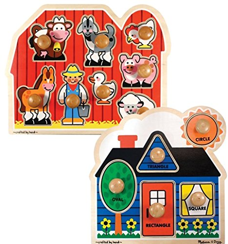 Melissa & Doug Bundle Includes 2 Items Farm Animals Jumbo Knob Wooden Puzzle First Shapes Jumbo Knob Wooden Puzzle