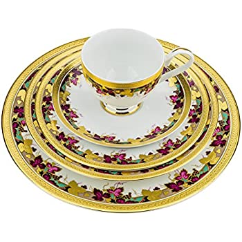 Majestic Porcelain DS1-5 24K Gold-Plated Dinnerware Set Dinner Service for  sc 1 st  Amazon.com & Amazon.com | Majestic Porcelain DS2-5 24K Gold-Plated Dinnerware ...