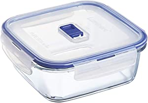 Luminarc Pure Box Active Glass Food Storage Container with Sliding Vent Lid (Square 3.2 Cups / 750ML)