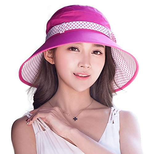 Siggi Cotton Bucket Cord Sun Hat Summer Cap Wide Brim UV SPF 50 for Women Rose