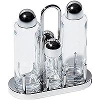 Alessi Servizio Per Olio, Aceto, Sale e Pepe in Cristallo e Acciaio