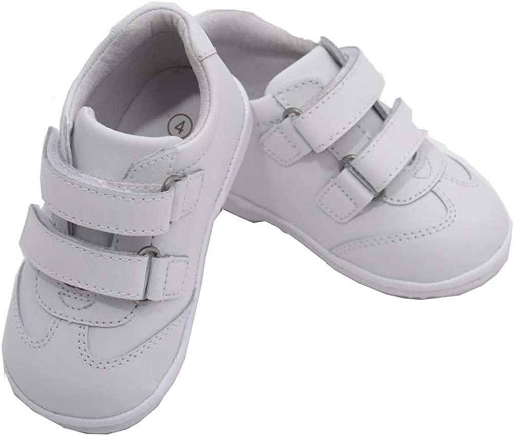 Angel Baby Boys White Double Strap Leather Sneakers 1-3 Baby